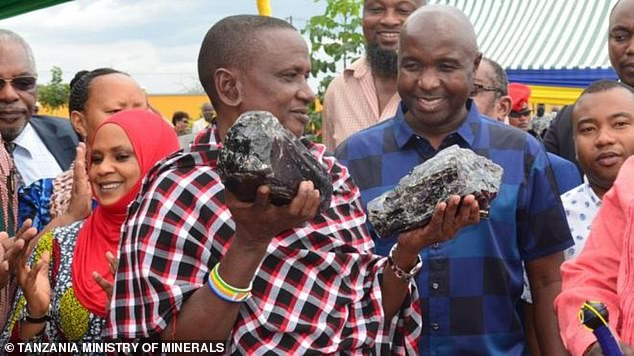 Saniniu Laizer pictured last month holding up two of the precious gemstones. He has now found a third Tanzania stone weighing 6.5kg and sold it at a trading event this morning