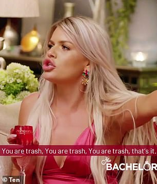 'You are trash!' In another explosive moment, a mystery blonde has a tense confrontation with a star named Kaitlyn (pictured)