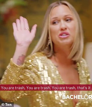 'You are trash! Your fake hair, fake lashes, fake t**s!' In another explosive moment, a blonde (pictured) has a tense confrontation with a star named Kaitlyn