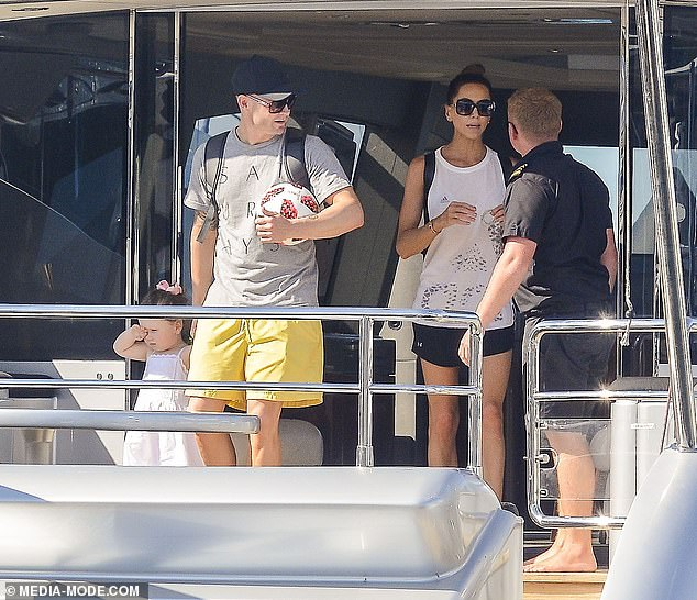 The love boat that sank: Just last year,Michael and Kyly were pictured enjoying quality time on the same yacht with their four-year-old daughter Kelsey-Lee (pictured)
