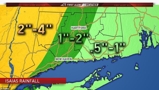 Connecticut is preparing for the arrival of Isaias, which is expected to bring up to 4 inches of rain in parts of the western half of the state