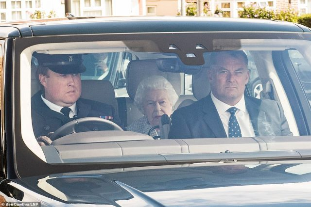 The Queen, pictured, arrived at RAF Northolt in the back of a chauffeur-driven car ahead of the flight. She and Prince Philip will remain at Balmoral, in Aberdeenshire, until early October