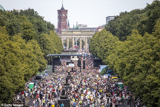 On Saturday, just under 20,000 people gathered in Berlin to protest against Germany's coronavirus regulations