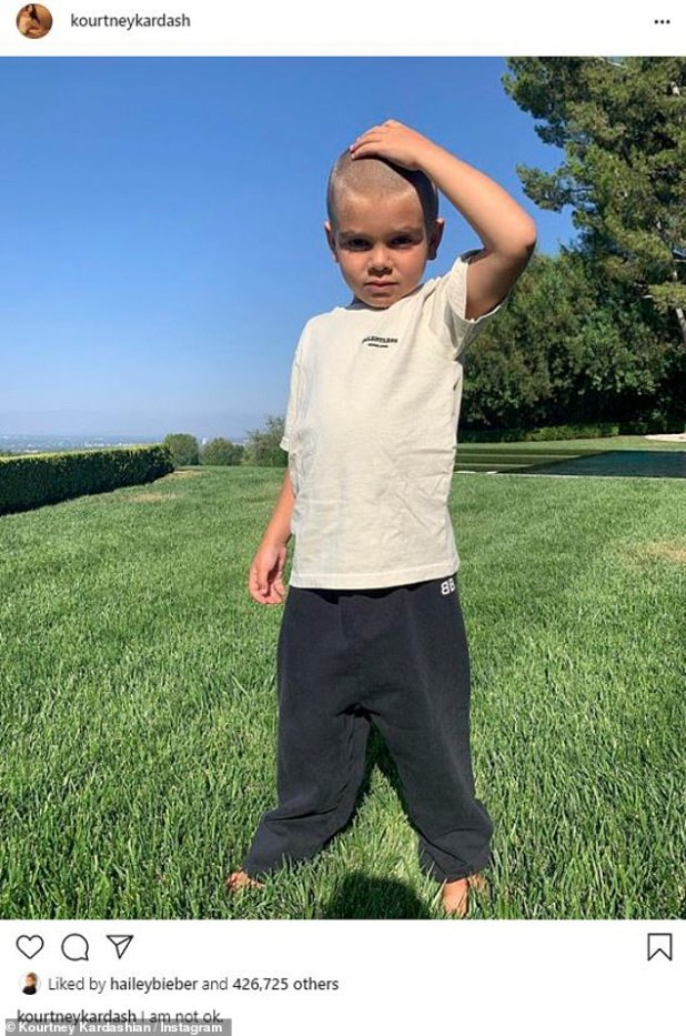 'I'm Not OK': Courtney Kardashian revealed on her Instagram page this Tuesday that her five-year-old son, Revenue, has shaved his head