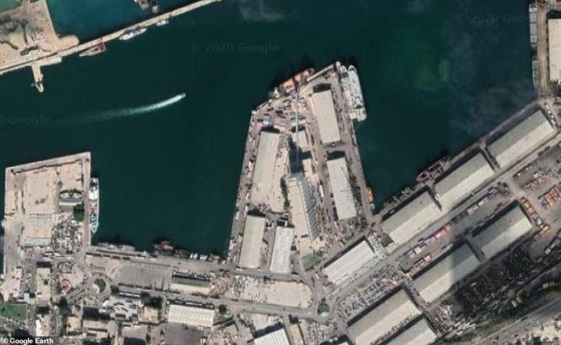 The dangerous explosives were kept at a warehouse at the port (pictured) in the capital city for six years