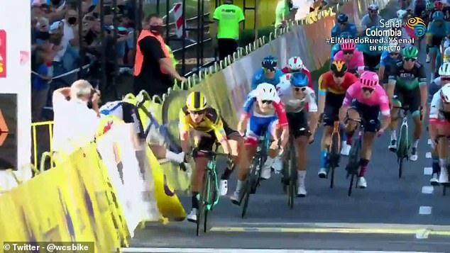 He was jostling for position and a stage victory with fellow Dutchman Dylan Groenewegen