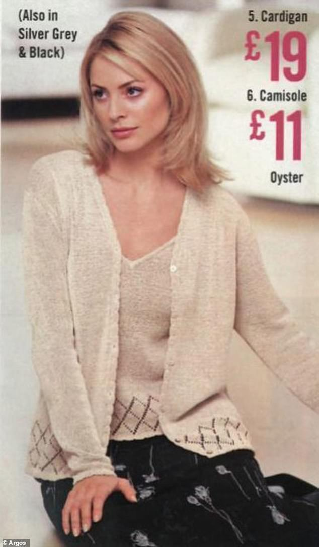 Tess Daly decided to cover up instead of modelling a collection of bras, seen here showcasing a cashmere cardigan