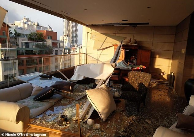 The aftermath: In the images, shards of broken glass can be seen scattered everywhere, while some balconies were left completely destroyed