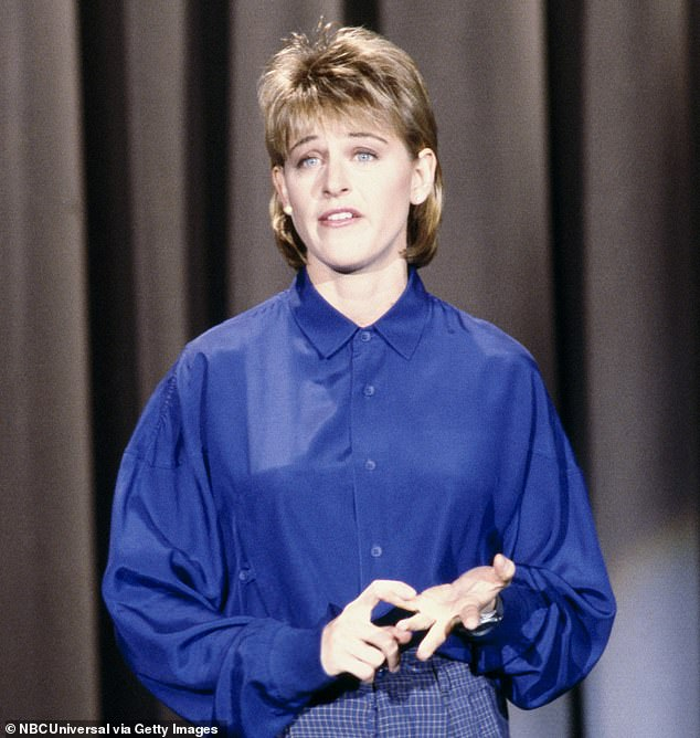 Gravolet said the under fire TV host worked for his mother's recruitment agency when he was a child, and claimed Ellen – then aged about 20 – would regularly subject him to biting, mean insults. Pictured: Ellen in 1987 around aged 28