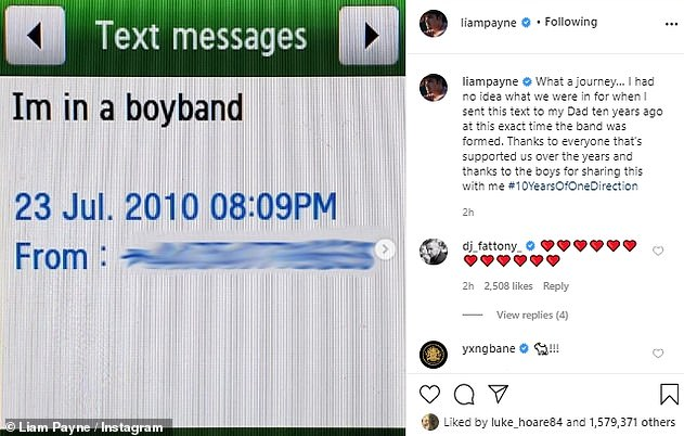 Memories: Last month Liam marked One Direction's 10th anniversary by sharing the text he sent to his father the day the group was formed