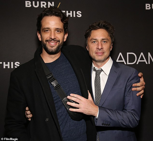 Pals: The tat was revealed on the one month anniversary of Nick's passing, which his wife Amanda Kloots marked with a sweet snap of them and a honest caption; pictured April 15, 2019 at the Broadway Opening Night Arrivals for Burn This at Hudson Theater in New York City