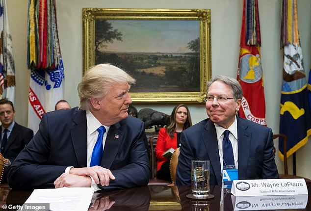 President Trump with NRA Executive Vice President Wayne LaPierre, the target of the lawsuit who she claims mismanaged funds for years to support his lavish lifestyle