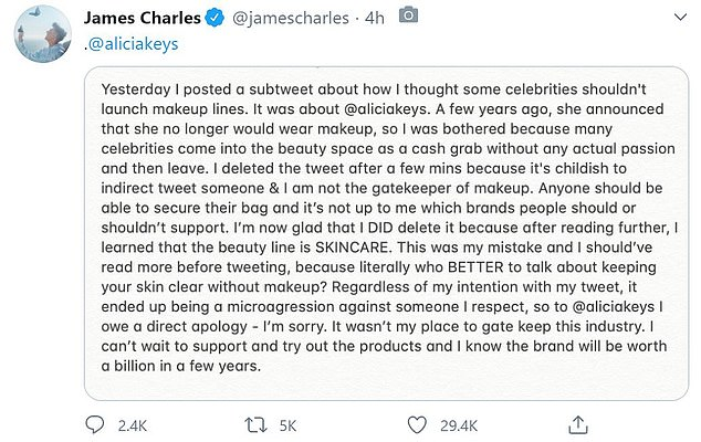 Backtrack: The YouTuber then posted an apology, admitting that he assumed Alicia was using her beauty launch as a 'cash grab' like other celebrities who 'come into the beauty space'