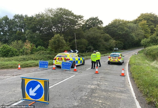 The rider died at the scene of crash (pictured), according to Hampshire Police, who have launched an investigation and referred the incident to theIndependent Officer for Police Conduct (IOPC)