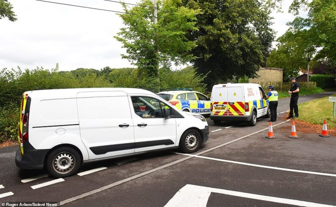 Police gave chase after the shooting suspect, who is believed to have initially left the scene on foot before jumping onto a motorbike, was seen fleeing the area. Pictured: Police forensic teams were at the scene of the shooting today