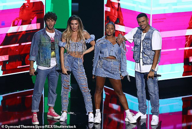 Singing squad:Last year Wes joined Love Island co-stars (L-R) Eyal Booker, Zara McDermott, and Samira Mighty to compete on The X Factor: Celebrity in the group No Love Lost