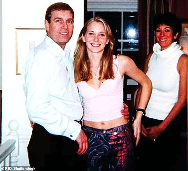 Virginia Roberts Giuffre, the woman who claims Epstein forced her to have sex with Prince Andrew when she was 17, describes how being with Maxwell and Epstein was a 'truly erased family ''. Pictured: Prince Andrew with Virginia and Maxwell at her London home in 2001