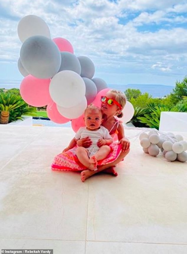 Sisters: Rebekah also shared an adorable snap of her youngest girls Sofia and Olivia sitting outside with some pretty balloons earlier in the week