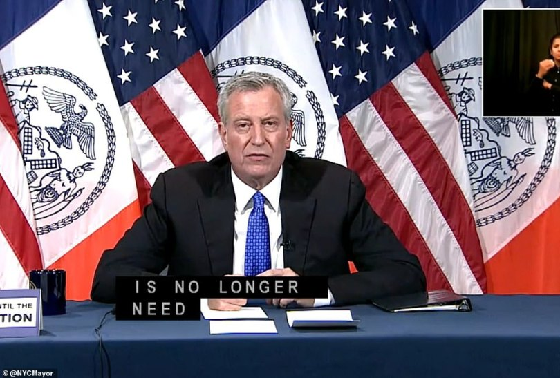 At a press conference on Friday, Mayor Bill de Blasio said that homeless people would be returned to city shelters once it is safe from a public health standpoint