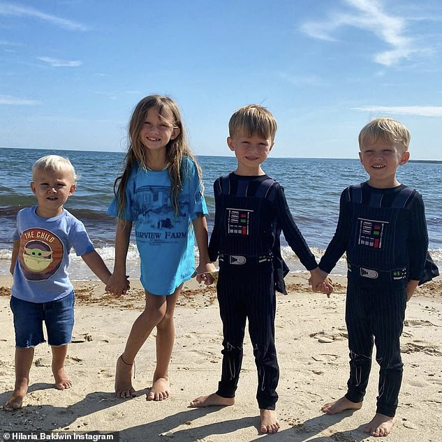 Fantastic Four:Alec and Hilaria share four children, daughter Carmen, sons Rafael, five, Leonardo, three, and Romeo, two; All four children pictured on Hilaria's Instagram on Thursday