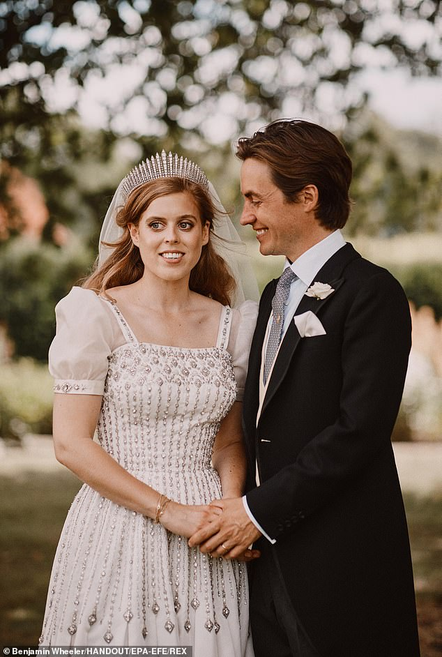 The celebrations come just weeks after the princess, who is ninth-in-line for the throne, tied the knot to Edoardo Mapelli Mozzi (pictured, together), at the Royal Chapel of All Saints, in the grounds of Royal Lodge, in Windsor Great Park