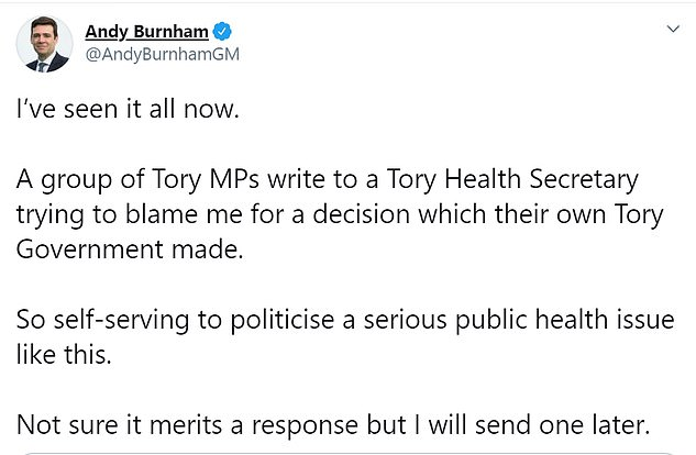 The lettersparked an angry response from the mayor, who said it was 'so self-serving to politicise a serious public health issue like this'