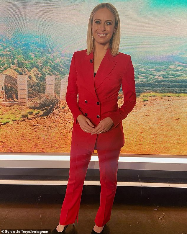 'Hello studio lights and makeup': Sylvia's relaxed weekend comes a couple of weeks after she returned to the Today Extra desk after taking maternity leave. On her first day back, she flaunted her post-baby body in a bold red suit that highlighted her trim figure