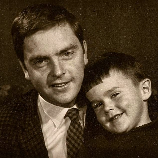 Huw Edwards as a boy with his father Hywel. Huw revealed he began comfort eating in 2010 following his father's death