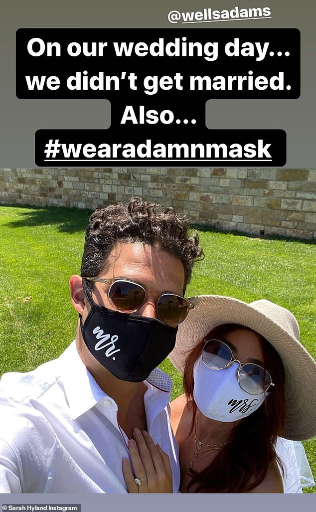 'We postponed wedding planning because we want to be able to focus on what's important right now, and that's helping to spread information to wear masks,' Sarah said