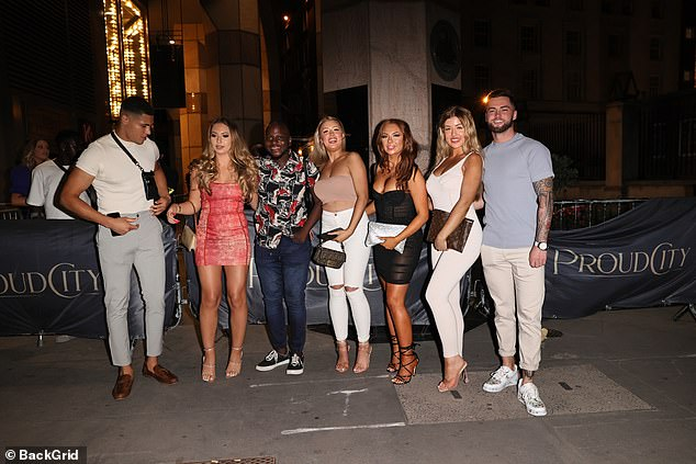 Love Island do: The Love Islanders (pictured above) including Demi Jones, Jordan Waobikeze, Eva Zapico, Jess Gale and Eve Gale all reunited for a long overdue night out
