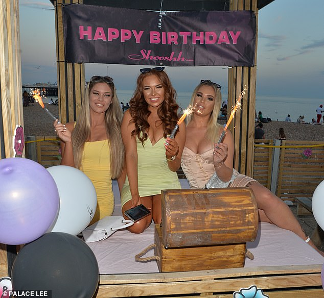 Time to celebrate: Demi celebrated her friendAmy's birthday alongside their other palHollie