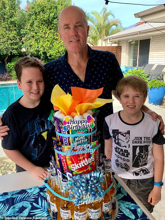 The proud mum shared the results of her efforts on Facebook, where more than 1,000 people were quick to share their praise (Vanessa's husband pictured with their kids)