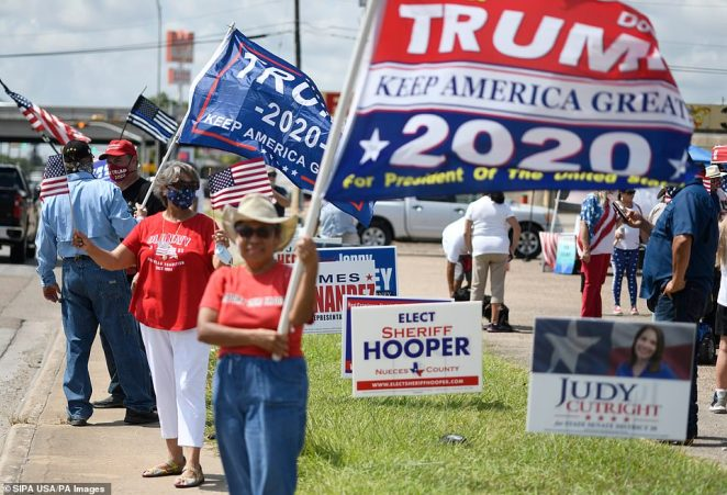 Pictured:Latinos For Trump host a rally at Sunrise Mall in Corpus Christi, Texas, on Friday as the November election nears