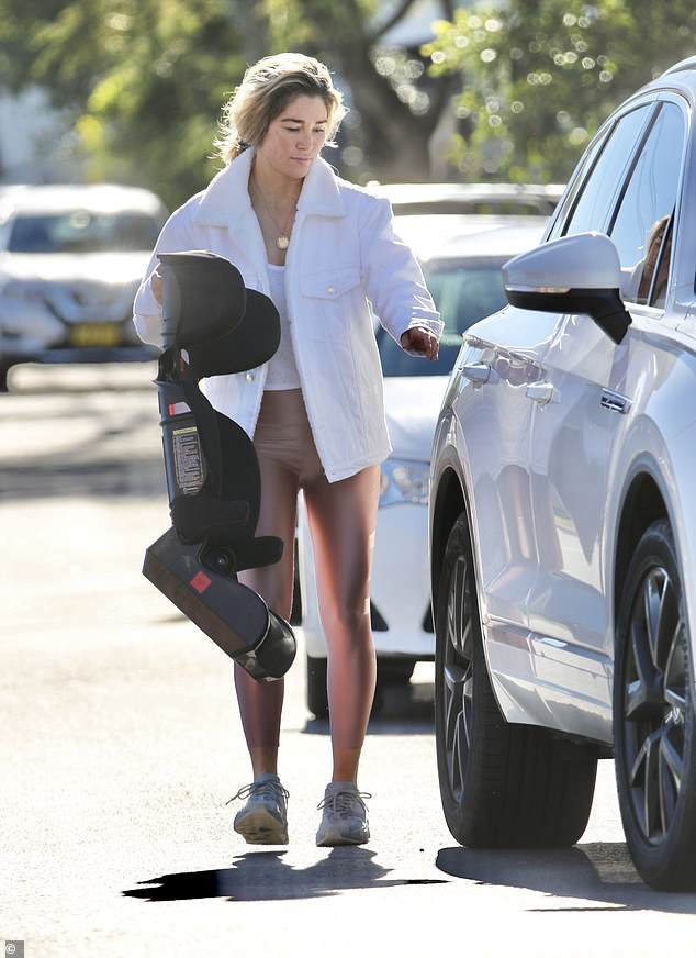 Natural beauty: Erin McNaught (pictured), 38, showed off her natural beauty and trim pins in a casual ensemble while out running errands in Brisbane on Sunday