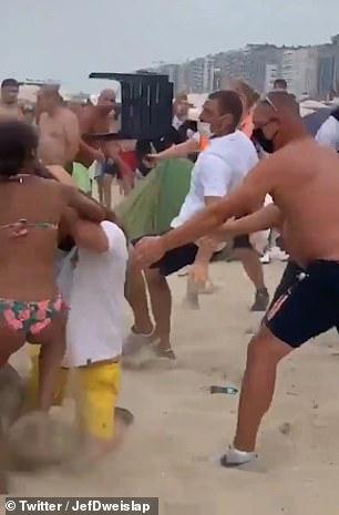 A chair is thrown on the beach