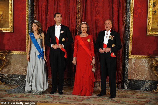 Pictured left to right: Then-Princess Letizia , Prince Felipe, Queen Sofia and King Juan Carlos pose for a photo in 2009