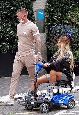 Healing: Doctors have told the former glamour model it could be a long recovery time for both her feet