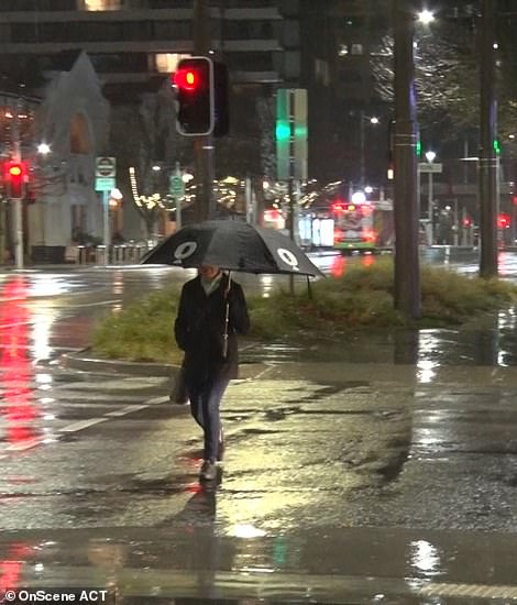 Person walking with an umbrella