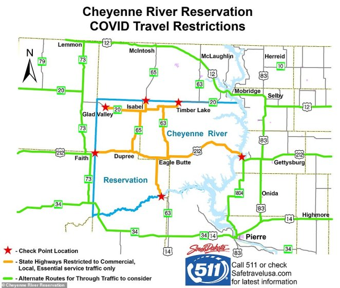The Department of Transportation released a map showing which roads are closed to tourists including parts of U.S. 212 and SD 20, 63 and 65 on the reservation, and where checkpoints surround reservation land are located