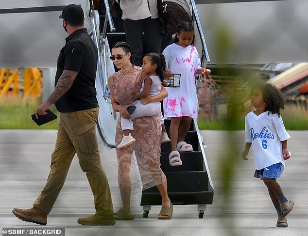 Last straw: Prior to their trip, Kim and Kanye were seen together during an emotional reunion in the car after she jetted to their ranch in Wyoming, following his series of controversial statements about their marriage, which she attributed to his bipolar disorder