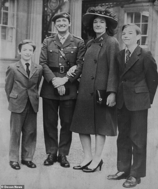 Major General Rupert Jones is pictured (left) as a boy with his father, Col 'H' Jones, mother Sara and older brother David