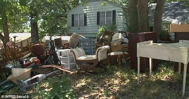 Pictured: Nelson's belongings placed on her lawn in Memphis as she was evicted on Thursday