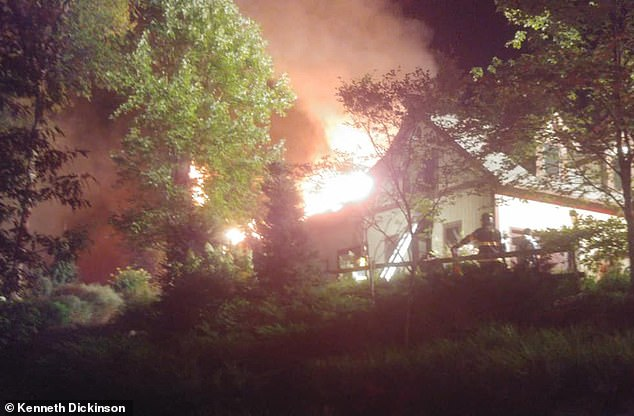 Photos posted online showed the house engulfed in flames with the roof on fire