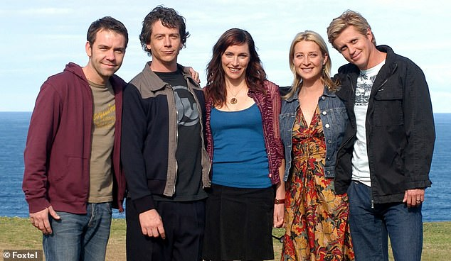Award winning: He won a Silver Logie in 2004 for his role in Foxtel's Love My Way. Pictured with his co-stars here: Brendan Cowell, Ben Mendelsohn, Claudia Karvan and Asher Keddie, from left to right