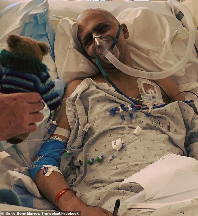 Ben Stylo (pictured) in hospital earlier in August as he battled with a rare fungal infection