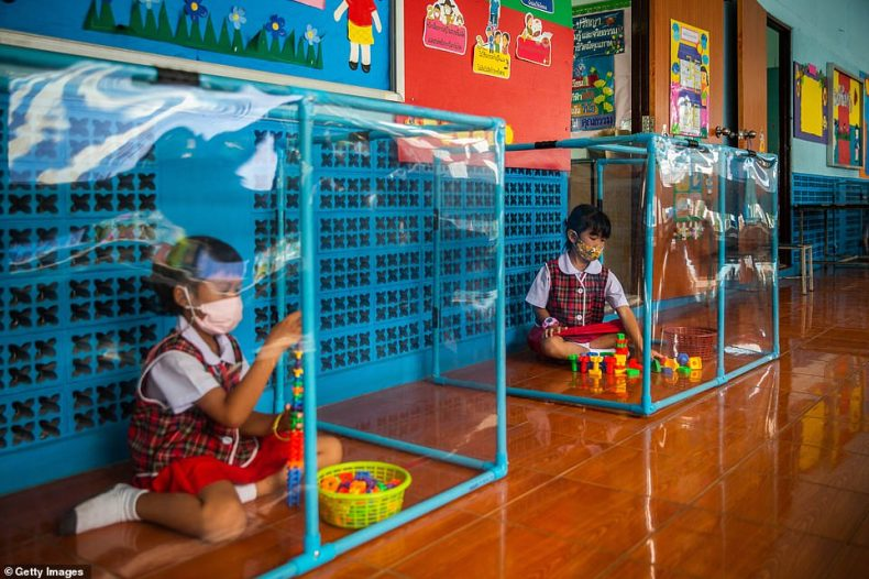 Thai kindergardeners wear face masks as they play in screened in play areas used for social distancing at the Wat Khlong Toey School