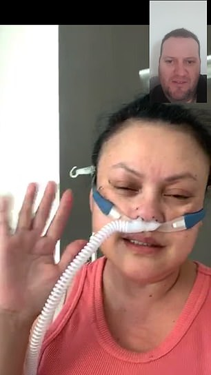 Ms Bradford speaks to her partnerRobert Smith via a video call. He cannot visit her in hospital