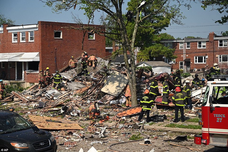 Shocking images from the scene show at least three row homes completely reduced to rubble while the windows in nearby properties are blown out in the wake of the devastating blast that was heard several blocks away