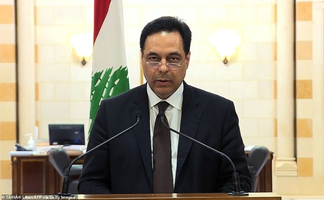 Prime minister Hassan Diab (pictured) announced his resignation yesterday and blamed the blast on the incompetence of the elite, declaring that an 'apparatus of corruption bigger than the state' was blocking the path to reform
