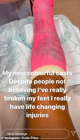 Anger: She said, `` Look at that glitter on that foot!  The foot that no one believes is broken!  Can you believe that no one believes that I broke my feet and ankles ?!